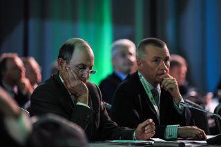 Akbar Al-Baker und Willie Walsh auf dem IATA AGM 2016
